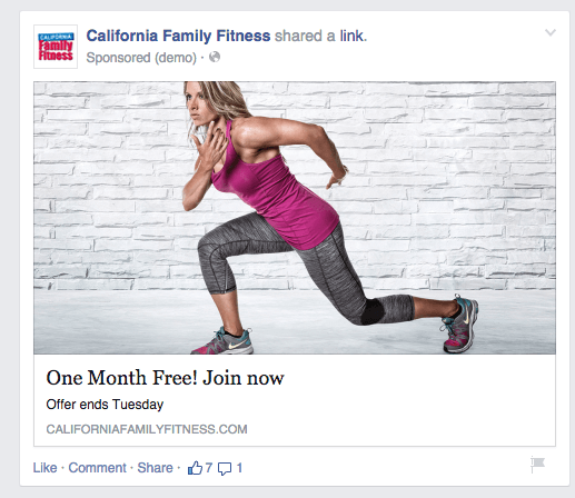 Ad example Health Club Marketing